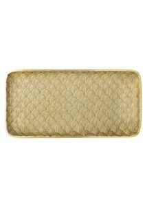 Arany színű mintás fém tálca 39x20 cm