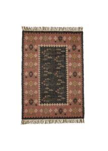 Barna mintás juta szőnyeg 180x125 cm + ajándék gyertyatartó