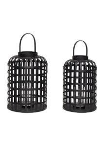 Fekete bambusz magas lámpás szett 2 db