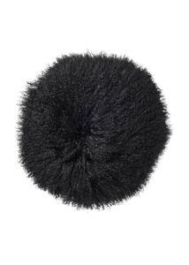 Fekete báránybőrdíszpárna Ø35cm