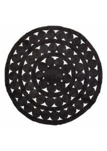 Fekete kör alakú juta szőnyeg Ø120 cm