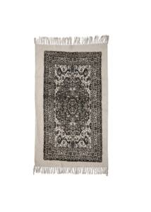 Fekete mintás pamut szőnyeg 150x90 cm