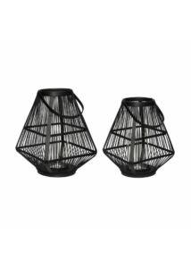 Fekete szögletes bambusz lámpás szett 2 db