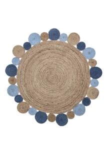 Kék kör alakú juta szőnyegØ120 cm