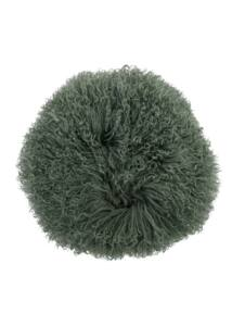 Méregzöld kerek báránybőr párna Ø35 cm