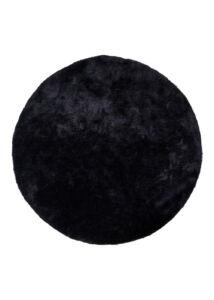 Modern fekete kör alakú szőnyeg Ø120 cm
