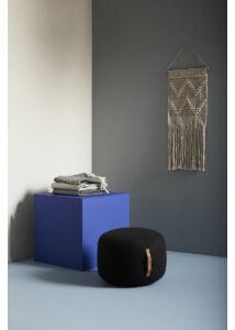 Modern fekete puff ø50 cm