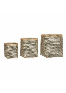 Natúr és fekete bambusz kosár szett 3 db