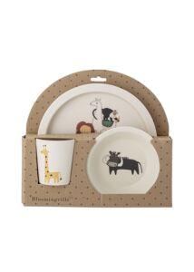 Szafari állatmintás gyermek étkészlet 6x3db