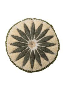 Virág mintás kör gyapjú díszpárna 2db