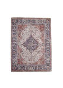 Vörös koptatott mintás pamut szőnyeg 210x150 cm + ajándék gyertyatartó
