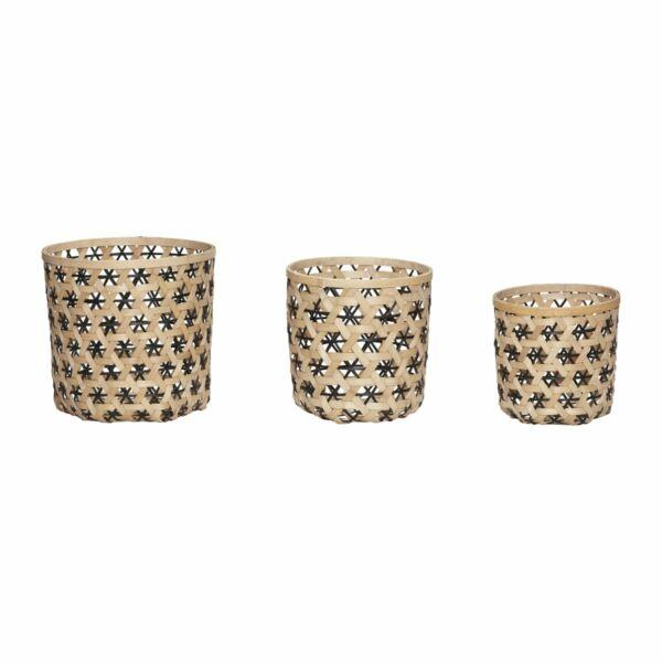 Bambusz kerek kosár szett 3 db