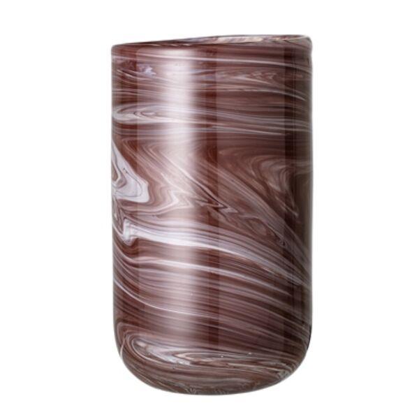 Barna üveg váza Ø14xH25 cm