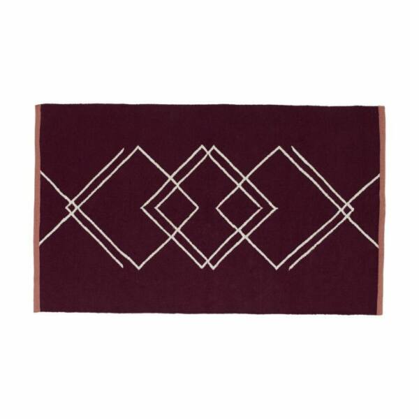 Bordó és fehér mintás szőnyeg 90x150 cm