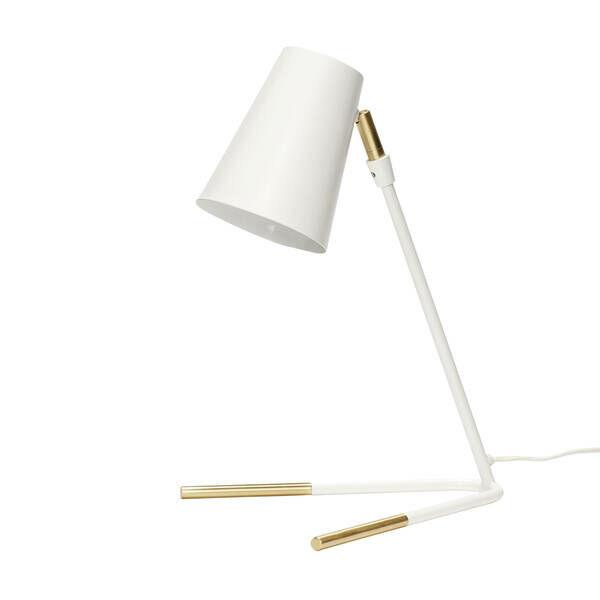 Fehér és réz színű asztali lámpa