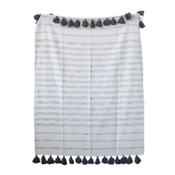 Fehér kék csíkos pléd sötétkék bojtokkal 150x130 cm