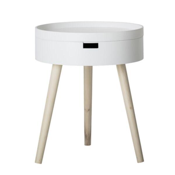 Fehér kerek tárolós kisasztal
