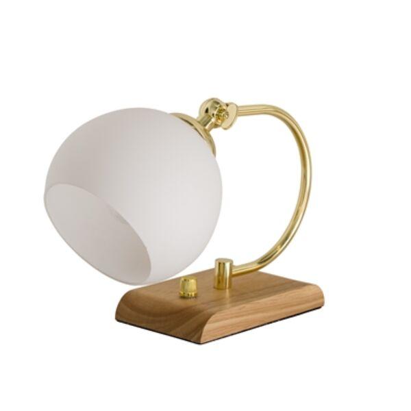 Fehér kerek üveg és fa asztali lámpa 25 cm