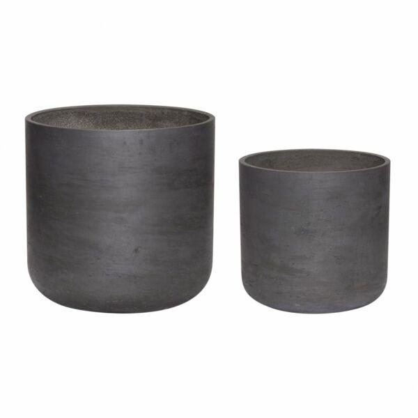 Fekete cement virágcserép 2db-os szett