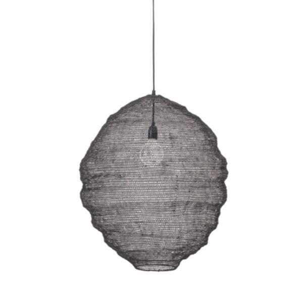 Fekete fém hálós függőlámpa Ø62xH66 cm