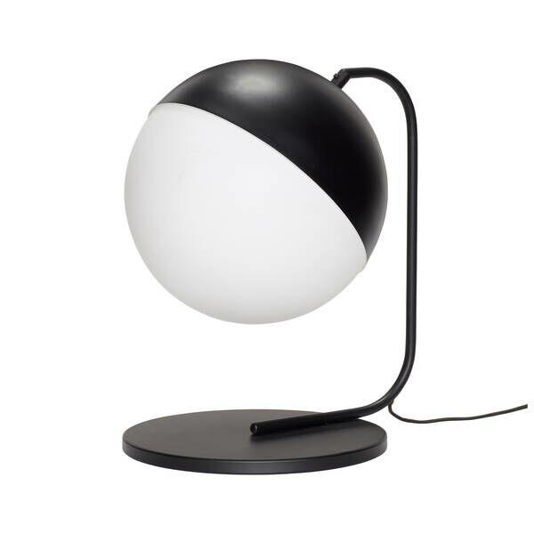 Fekete gömb búrájú asztali lámpa