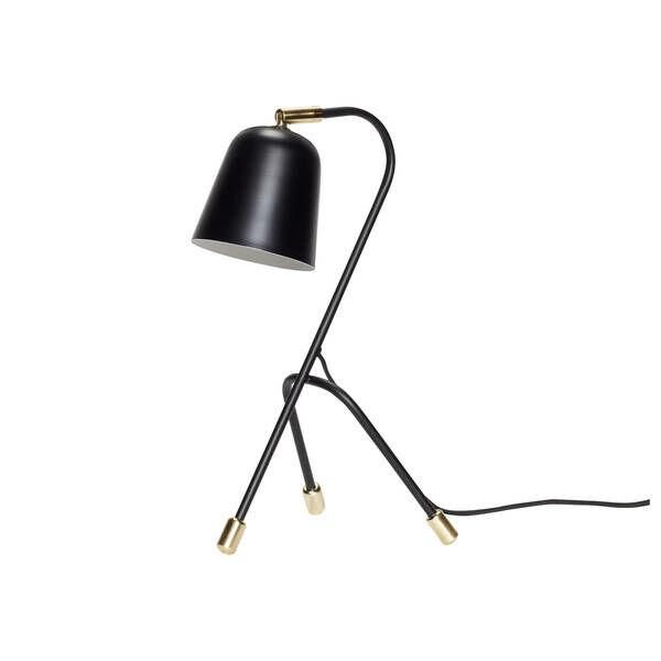 Fekete háromlábú asztali lámpa