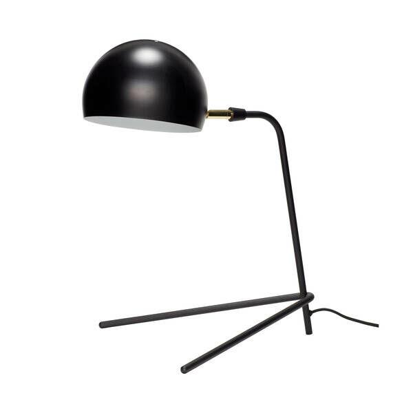 Fekete kerek búrájú asztali lámpa