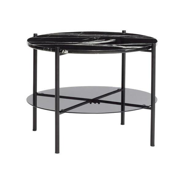 Fekete márvány és üveg dohányzóasztal