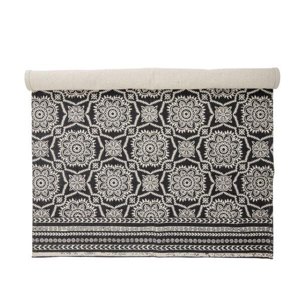 Fekete mintás pamut szőnyeg 120x180 cm
