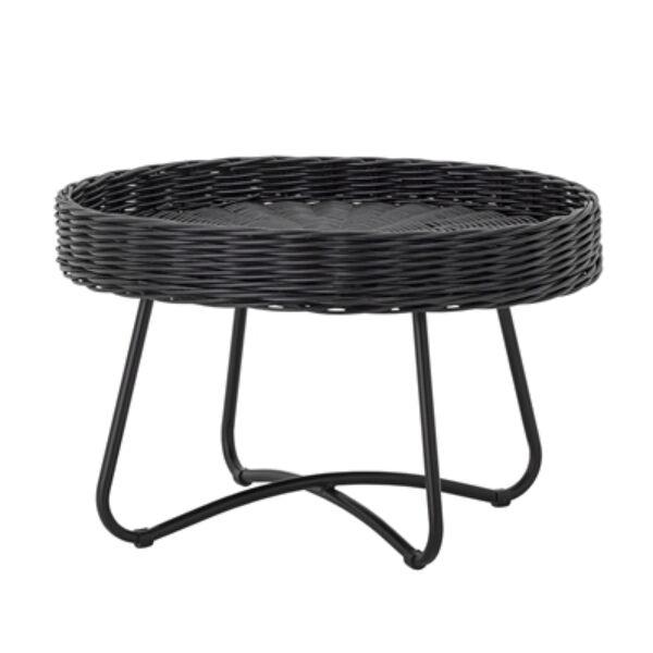 Fekete rattan dohányzóasztal