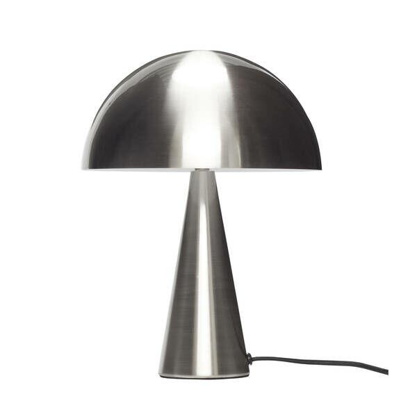 Gomba alakú ezüst színű kis asztali lámpa
