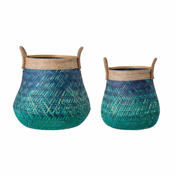 Kék bambusz kosár szett 2 db