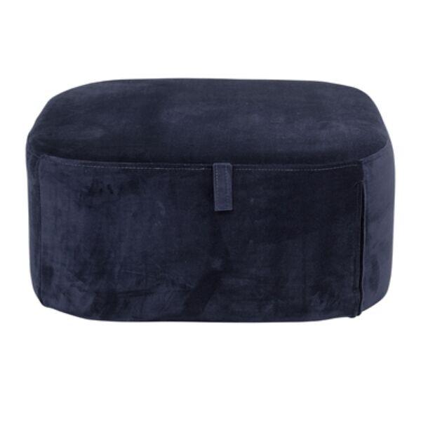 Kék bársony puff 55x25 cm