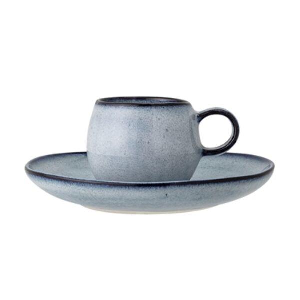 Kék kerámia csésze tányérral 4 db