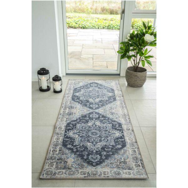 Klasszikus kék mintás előszoba szőnyeg 80x200 cm