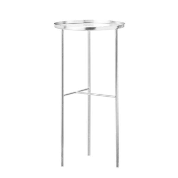 Króm színű kerek kisasztal