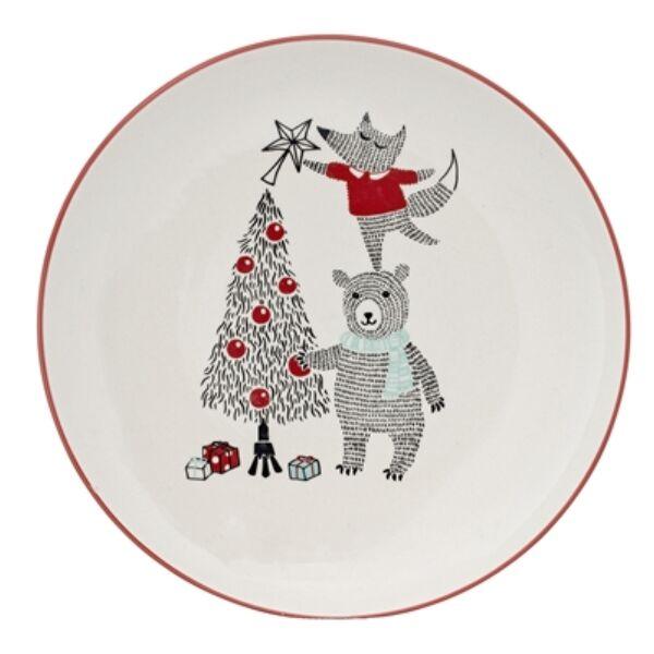 Macis karácsonyi kerámia lapos tányér 2db