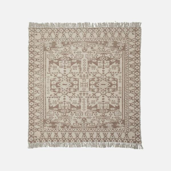 Mintás bézs pamut szőnyeg 180x180 cm