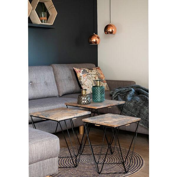 Modern geometrikus szürke kisasztal szett 3 db
