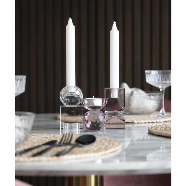 Modern rózsaszín üveg gyertyatartó
