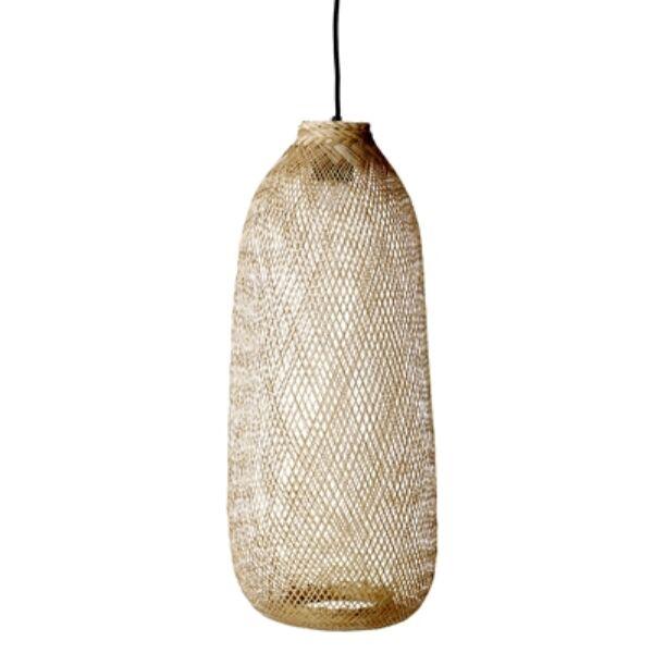 Natúr bambusz hosszúkás függőlámpa 65 cm