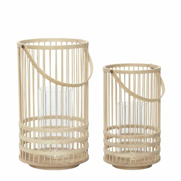 Natúr bambusz lámpás szett 2 db