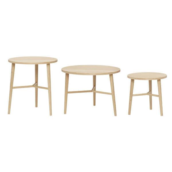 Natúr tölgyfa kisasztal szett 3 db