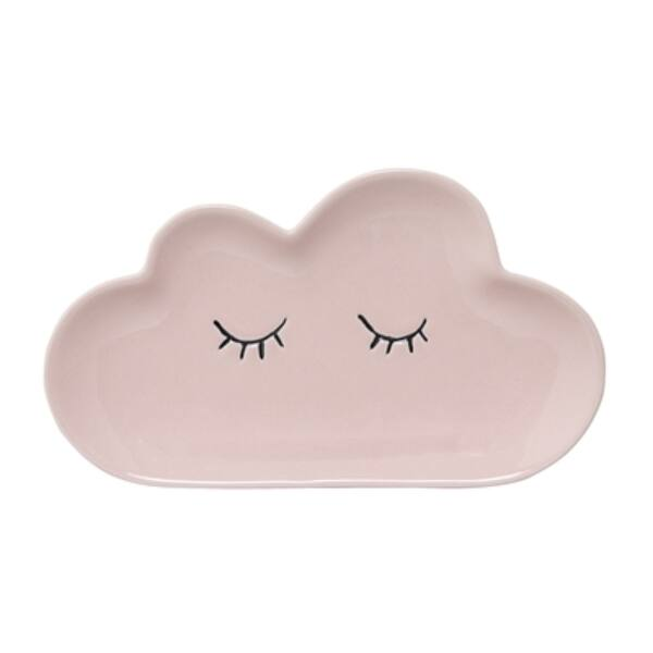 Rózsaszín felhős kerámia tányér 12 db