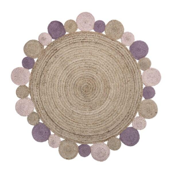 Rózsaszínű kör alakú juta szőnyegØ120 cm