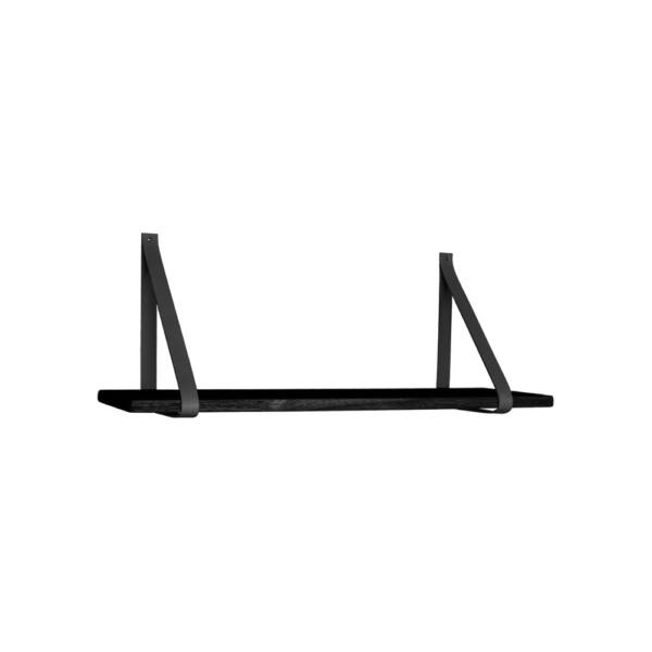 Rusztikus fekete fali polc bőr hevederrel 80 cm