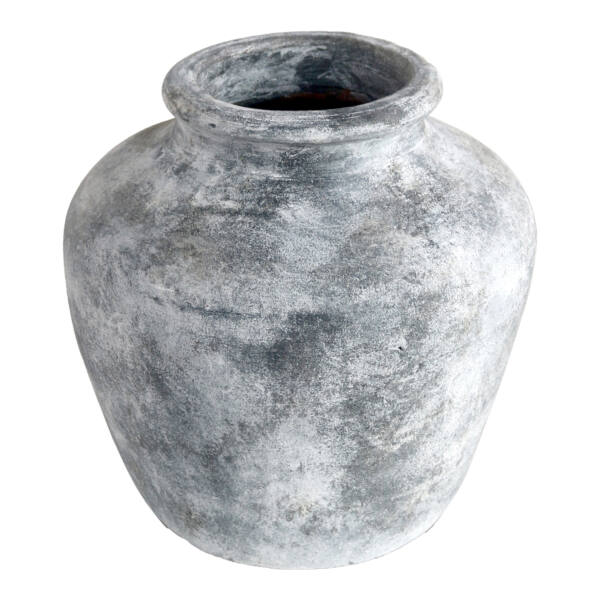Rusztikus világosszürke terrakotta váza