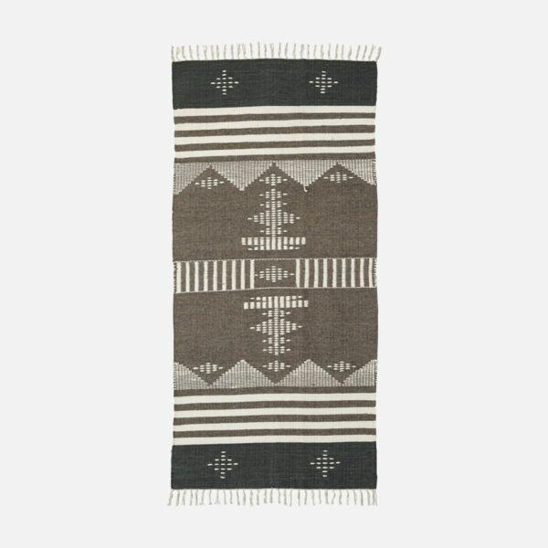 Skandináv mintás barna gyapjú szőnyeg 200x90 cm
