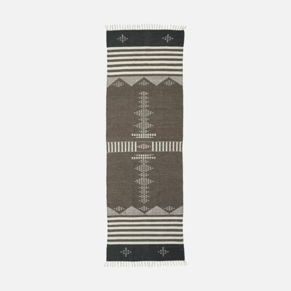 Skandináv mintás barna gyapjú szőnyeg 300x90 cm