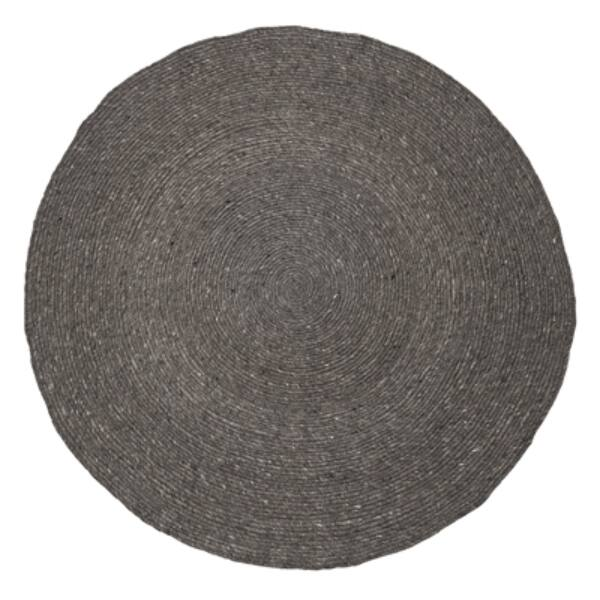 Sötétszürke kör alakú gyapjú szőnyeg Ø140 cm